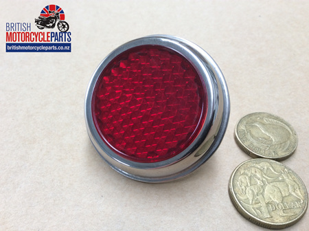 02-1503 REFLECTOR RED/CHROME TRIM RER25 - REPLICA