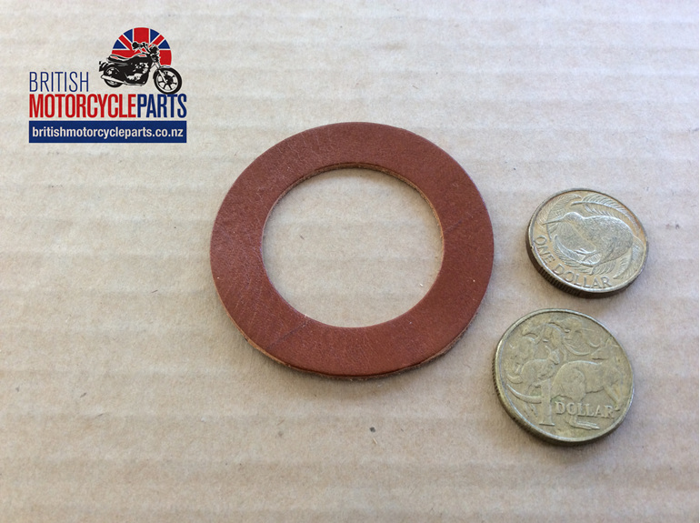 02-1785 Fork Tube Leather Washer Top -Norton P11 P11A - British Motorcycle Parts