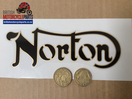 06-1040 Norton Petrol Tank Decal - Black Gold Outline