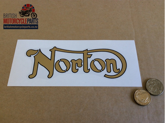 06-2021 06-2931 Decal Norton Gold Black Outline - British Motorcycle Parts NZ