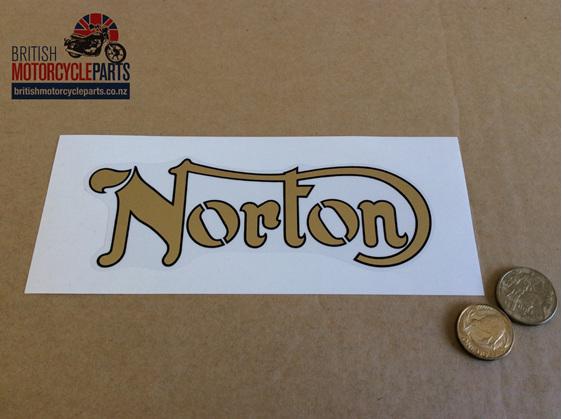 06-2021 06-2931 Decal Norton Gold Black Outline - British Motorcycle Parts NZ