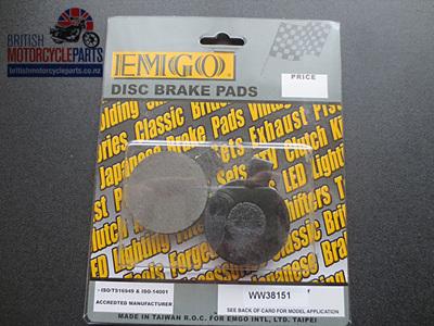 06-6005A 06-6186A Norton Commando Brake Pads - Pattern