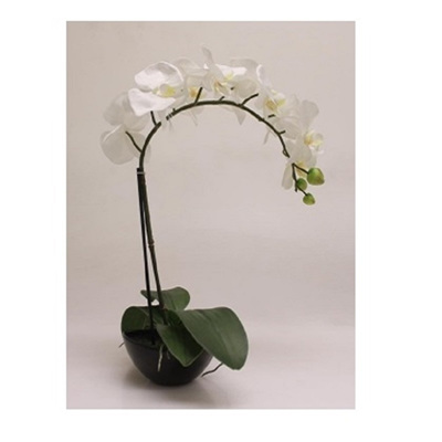 1 Stems 47.5cm Artificial Orchid With Black Pot