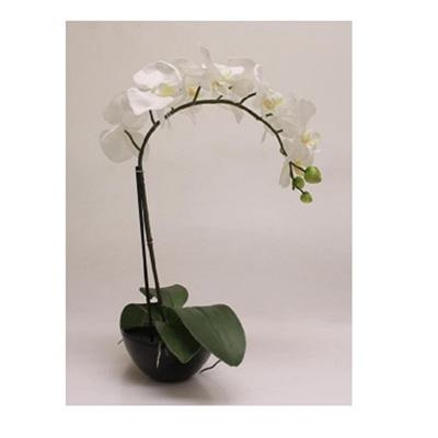 1 Stems 47.5cm Artificial Orchid With Black Pot