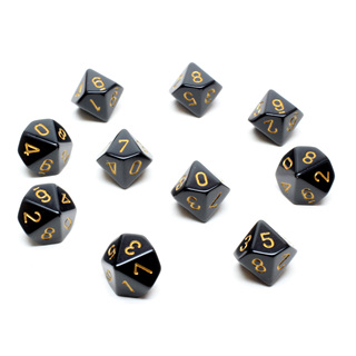 10 Black with Gold Ten Sided Dice