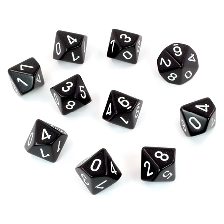10 Black with White Ten Sided Dice