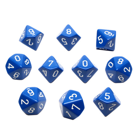 10 Blue with White Ten Sided Dice