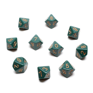 10 Dusty Green with Gold Ten Sided Dice