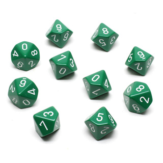 10 Green with White Ten Sided Dice