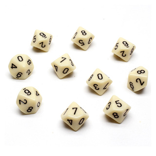 10 'Ivory' with Black Ten Sided Dice