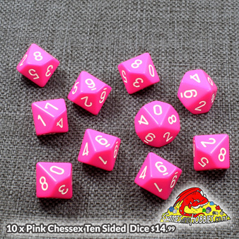 10 Pink D10's Chessex Games and Hobbies New Zealand NZ