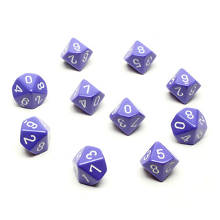 10 Purple with White Ten sided dice