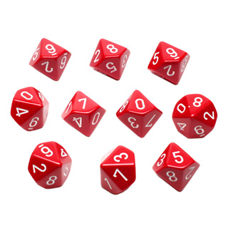 10 Red with White Ten Sided Dice