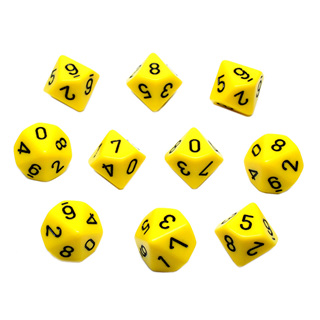 10 Yellow with Black Ten Sided Dice