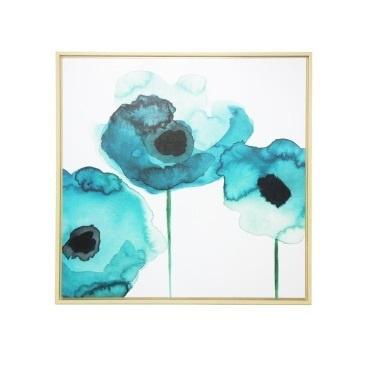 100x100cm Watercolour Flower Framed Canvas Print