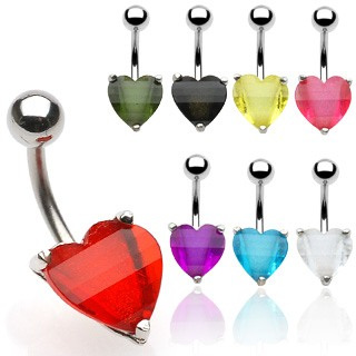 10mm Heart Glitter EPStone Navel Ring