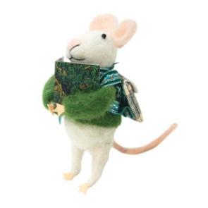 11.5cmh Xmas Wool Decoration-Reading Mouse