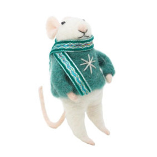 11.5cmh Xmas Wool Decoration-Mouse W/Book
