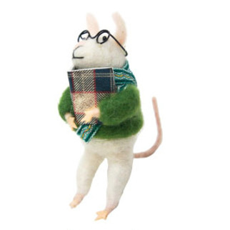 11.5cmh Xmas Wool Decoration-Mouse W/Glasses