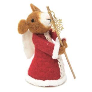 11cmh Xmas Wool Decoration-Angel Mouse