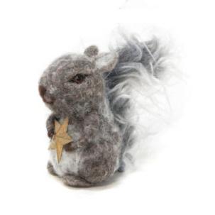 11cmh Xmas Wool Decoration-Squirrel W/Book