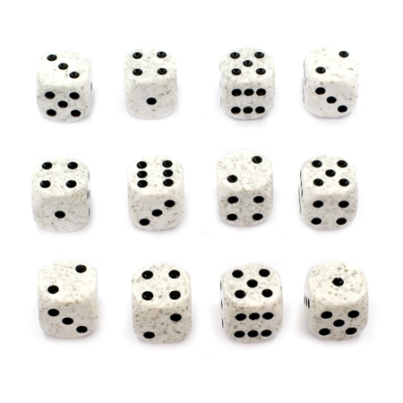 12 'Arctic Camo' Speckled Six Sided Dice (16mm)
