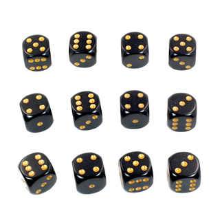 12 Black and Gold Six Sided Dice (16mm)