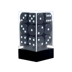 12 Black and White 16mm Six Sided Dice Games and Hobbies New Zealand NZ