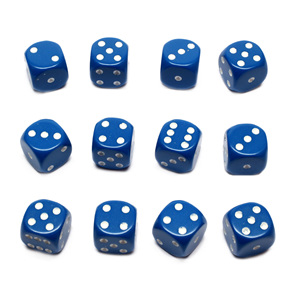 12 Blue and White 16mm Six Sided Dice Games and Hobbies New Zealand NZ