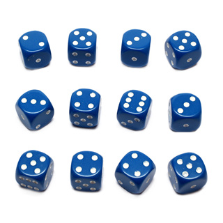 12 Blue and White Six Sided Dice (16mm)