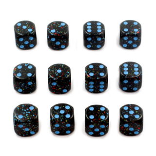 12 'Blue Stars' Speckled Six Sided Dice (16mm)