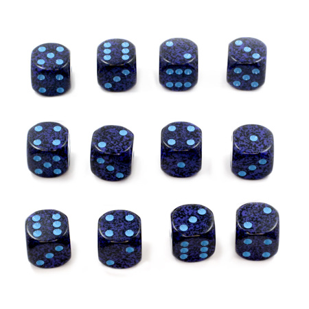 12 'Cobalt' Speckled Six Sided Dice (16mm)
