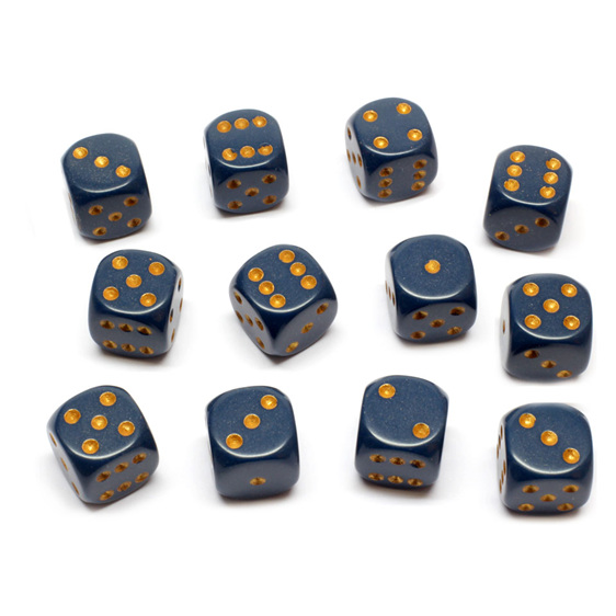 12 Dusty Blue and Gold 16mm Six Sided Dice Games and Hobbies New Zealand NZ