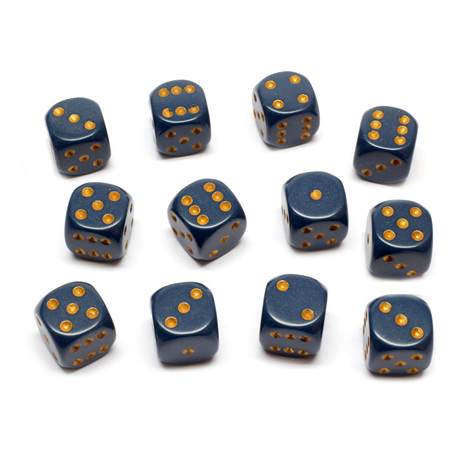 12 Dusty Blue and Gold Six Sided Dice (16mm)