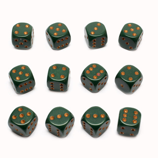 12 Dusty Green and Gold Six Sided Dice (16mm)