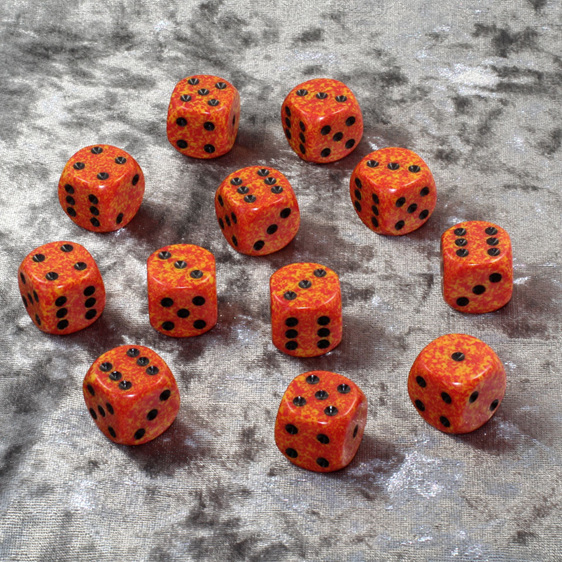 12 Fire 16mm Six Sided Dice Games and Hobbies New Zealand NZ