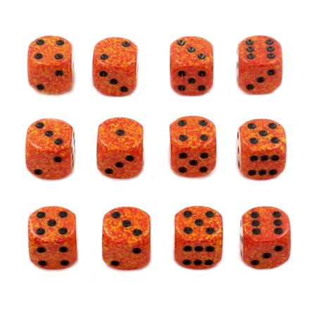 12 'Fire' Speckled Six Sided Dice (16mm)