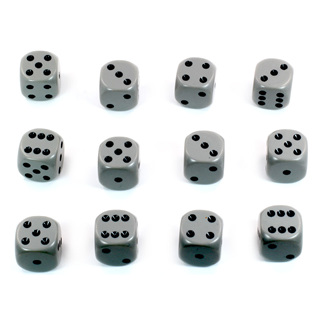 12 Grey and Black Six Sided Dice (16mm)