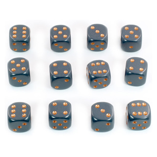 12 Grey and Copper Six Sided Dice (16mm)