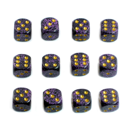 12 'Hurricane' Speckled Six Sided Dice (16mm)