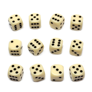 12 Ivory and Black Six Sided Dice (16mm)