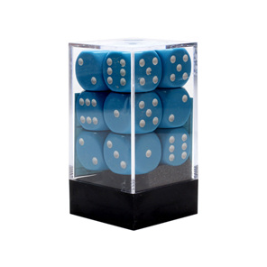 12 Light Blue and White 16mm Six Sided Dice Games and Hobbies New Zealand NZ
