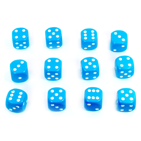 12 Light Blue and White Six Sided Dice (16mm)