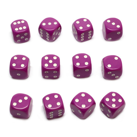 12 Light Purple and White Six Sided Dice (16mm)