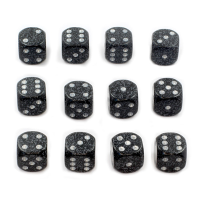 12 'Ninja' Speckled Six Sided Dice (16mm)