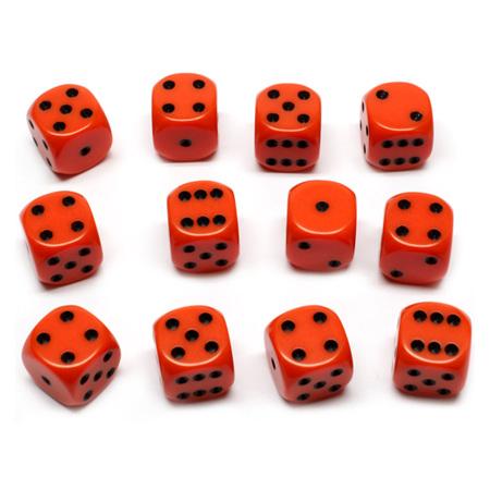 12 Orange and Black Six Sided Dice (16mm)