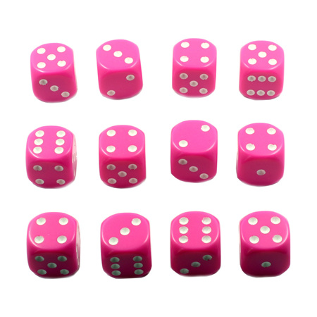 12 Pink and White Six Sided Dice (16mm)