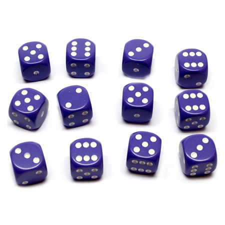 12 Purple and White Six Sided Dice (16mm)