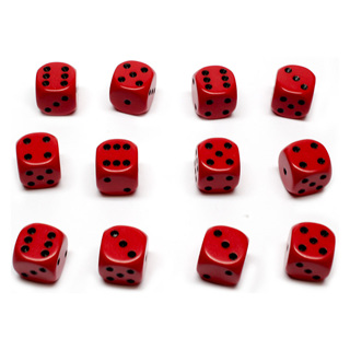 12 Red and Black Six Sided Dice (16mm)