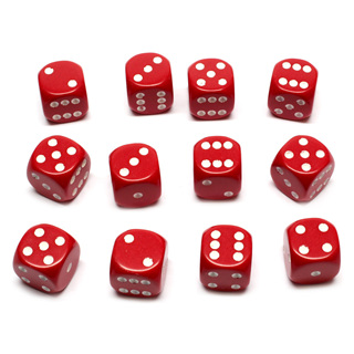 12 Red and White Six Sided Dice (16mm)